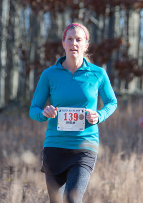 Lindsay Obrig heading down Pell Hill at the 2016 Raven Rocks Run. (photo by Tom Casper)